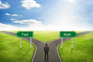 Businessman Concept; Choose Fact Or Myth Road The Correct Way.